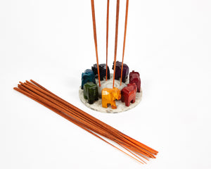 Elephants Seven Chakra Colour Soapstone Incense Holder image 3