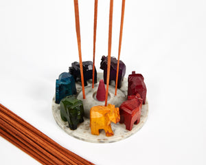 Elephants Seven Chakra Colour Soapstone Incense Holder image 4