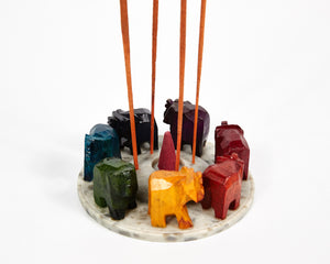 Elephants Seven Chakra Colour Soapstone Incense Holder image 5