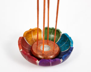Seven Chakra Colour Soapstone Incense Holder image 1