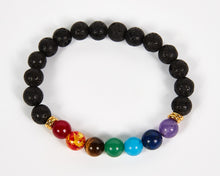Load image into Gallery viewer, Lava Stone Beads Seven Chakras Bracelet image 2