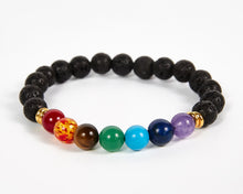 Load image into Gallery viewer, Lava Stone Beads Seven Chakras Bracelet image 1