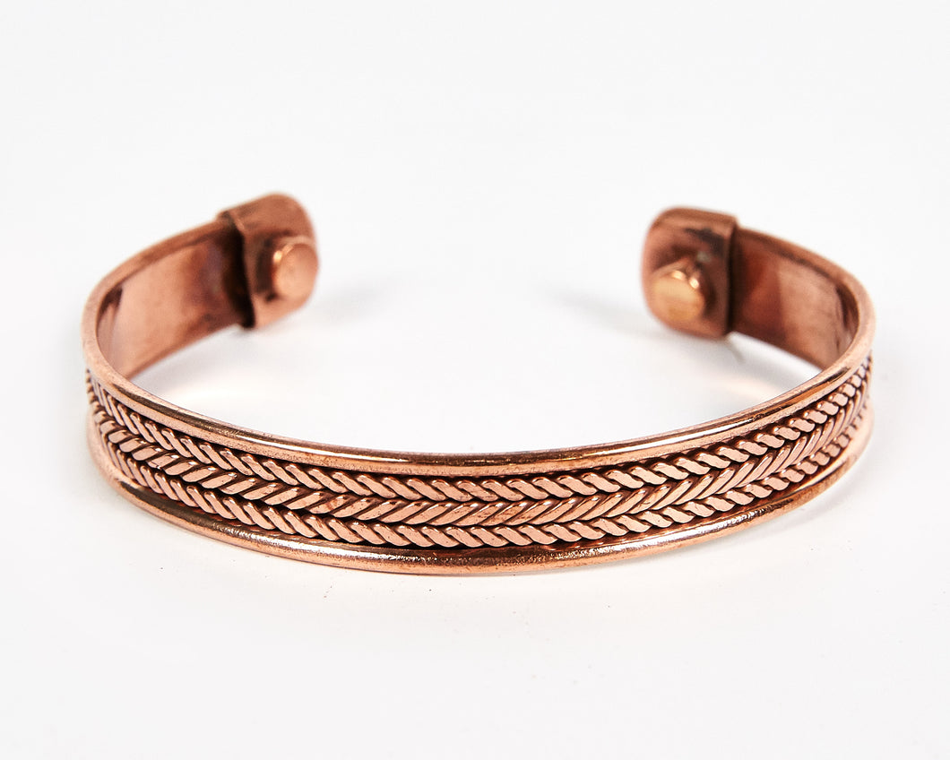 Triple Twist Decorative Pure Copper Magnet Cuff Bracelet image 1