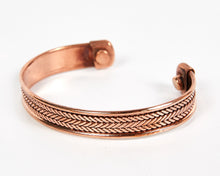 Load image into Gallery viewer, Triple Twist Decorative Pure Copper Magnet Cuff Bracelet image 3