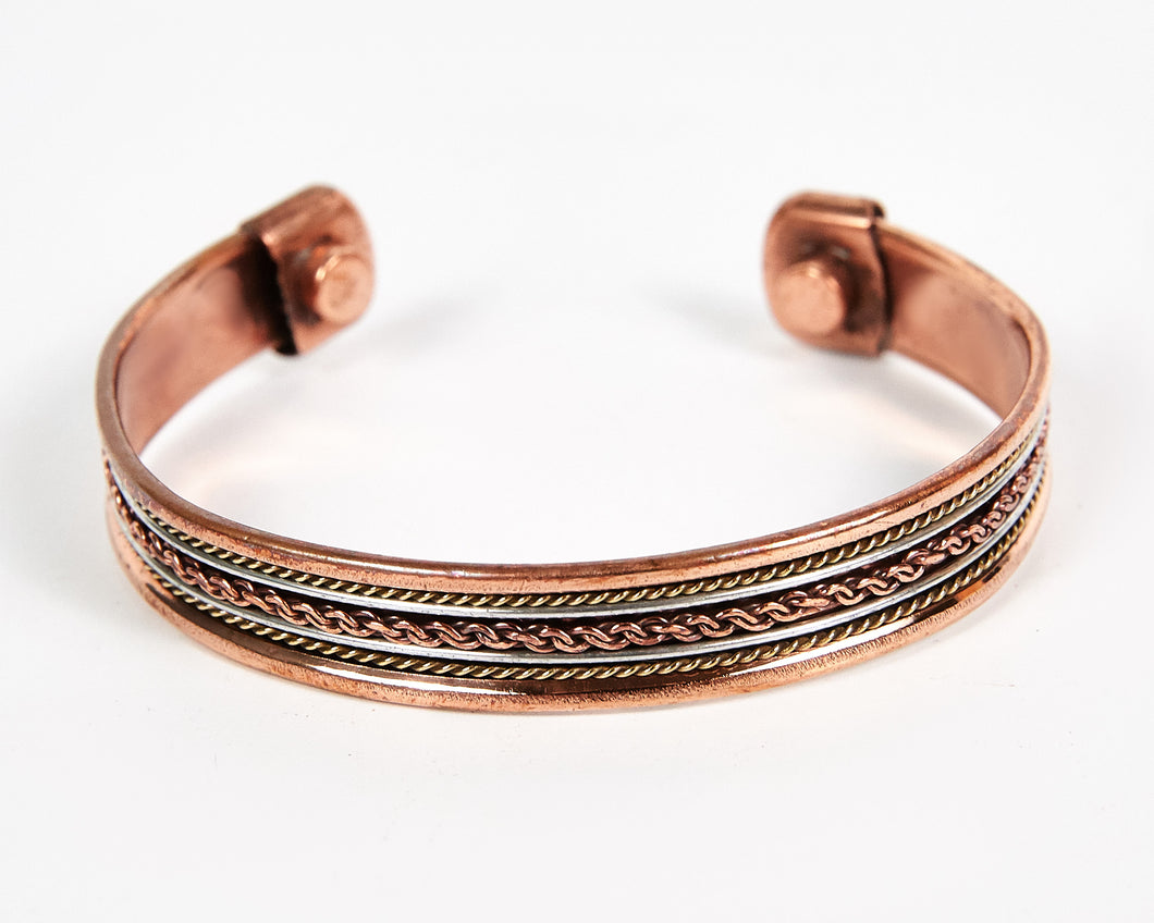 Single Twist Decorative Pure Copper Magnet Cuff Bracelet image 1