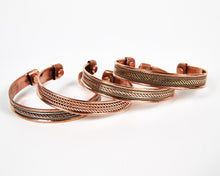 Load image into Gallery viewer, Triple Twist Decorative Pure Copper Magnet Cuff Bracelet image 4