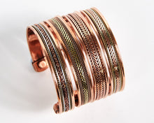 Load image into Gallery viewer, Triple Twist Decorative Pure Copper Magnet Cuff Bracelet image 6