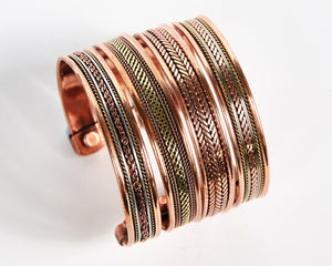Triple Twist Decorative Pure Copper Magnet Cuff Bracelet image 6