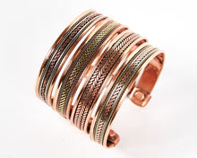 Load image into Gallery viewer, Triple Twist Decorative Pure Copper Magnet Cuff Bracelet image 7