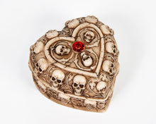 Load image into Gallery viewer, Skull & Bones Heart Shape Jewellery Box With Red Jewel image 1