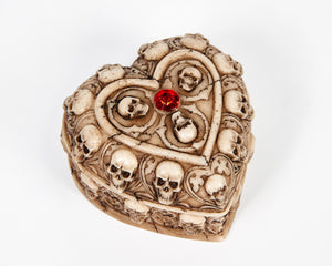 Skull & Bones Heart Shape Jewellery Box With Red Jewel image 1