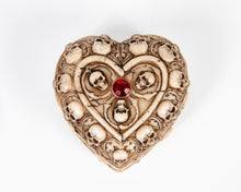 Load image into Gallery viewer, Skull & Bones Heart Shape Jewellery Box With Red Jewel image 2
