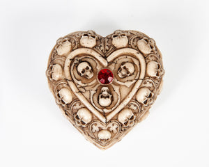 Skull & Bones Heart Shape Jewellery Box With Red Jewel image 2
