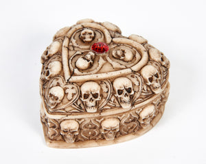 Skull & Bones Heart Shape Jewellery Box With Red Jewel image 3