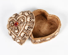 Load image into Gallery viewer, Skull & Bones Heart Shape Jewellery Box With Red Jewel image 4