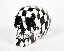 Load image into Gallery viewer, Check Chequered Print Decorative Skull, Decor Ornament, Gothic, Biker, Halloween, Day of the Dead, Sculpture