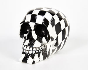 Check Chequered Print Decorative Skull, Decor Ornament, Gothic, Biker, Halloween, Day of the Dead, Sculpture