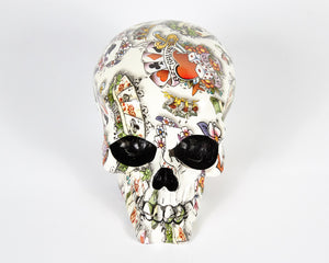White Tattoo Decorative Skull, Decor Ornament, Gothic, Biker, Halloween, Day of the Dead, Sculpture