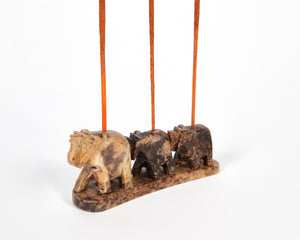 Three Elephants Soapstone Incense Holder image 4