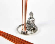 Load image into Gallery viewer, Silver Sitting Buddha 4 Hole Incense Holder Plate image 3