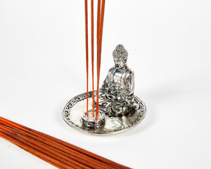 Silver Sitting Buddha 4 Hole Incense Holder Plate image 3