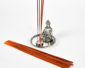 Silver Sitting Buddha 4 Hole Incense Holder Plate, Incense Burner, Ash Catcher + 20 Free Vegan Friendly Incense Sticks