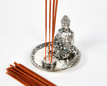 Load image into Gallery viewer, Silver Sitting Buddha 4 Hole Incense Holder Plate, Incense Burner, Ash Catcher + 20 Free Vegan Friendly Incense Sticks