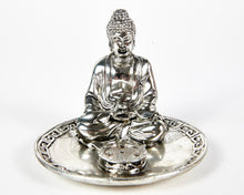 Load image into Gallery viewer, Silver Sitting Buddha 4 Hole Incense Holder Plate image 2