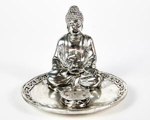 Silver Sitting Buddha 4 Hole Incense Holder Plate image 2