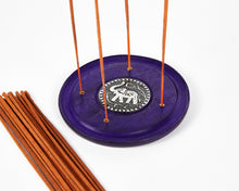Load image into Gallery viewer, Purple Elephant Symbol Round Disc 4 Hole Wood Incense Holder / Incense Burner Ash Catcher With 20 Free Vegan Friendly Incense Sticks