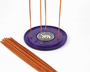 Purple Elephant Symbol Round Disc 4 Hole Wood Incense Holder / Incense Burner Ash Catcher With 20 Free Vegan Friendly Incense Sticks