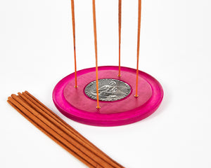 Pink Buddha Symbol Round Disc 4 Hole Wood Incense Holder / Incense Burner Ash Catcher With 20 Free Vegan Friendly Incense Sticks