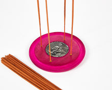 Load image into Gallery viewer, Pink Buddha Symbol Round Disc 4 Hole Wood Incense Holder / Incense Burner Ash Catcher With 20 Free Vegan Friendly Incense Sticks