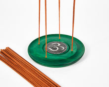 Load image into Gallery viewer, Green Ohm Symbol Round Disc 4 Hole Wood Incense Holder image 3