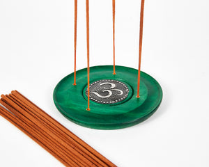 Green Ohm Symbol Round Disc 4 Hole Wood Incense Holder image 3