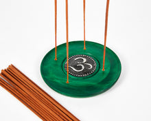 Load image into Gallery viewer, Green Ohm Symbol Round Disc 4 Hole Wood Incense Holder image 2