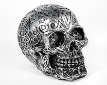 Load image into Gallery viewer, Silver Decorative Skull, Decor Ornament, Gothic, Biker, Halloween, Day of the Dead, Sculpture