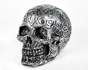 Silver Decorative Skull, Decor Ornament, Gothic, Biker, Halloween, Day of the Dead, Sculpture