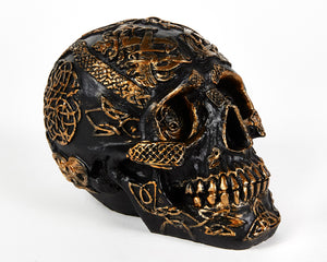 Black and Gold Decorative Skull, Celtic, Decor Ornament, Gothic, Biker, Halloween, Day of the Dead, Sculpture