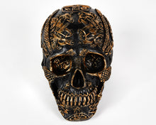 Load image into Gallery viewer, Black and Gold Decorative Skull, Celtic, Decor Ornament, Gothic, Biker, Halloween, Day of the Dead, Sculpture