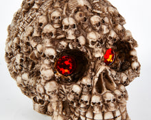 Load image into Gallery viewer, Skull Head with Red Eyes, Decor Ornament, Gothic, Biker, Halloween, Day of the Dead, Sculpture