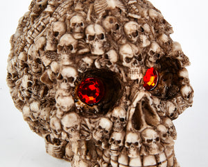 Skull Head with Red Eyes, Decor Ornament, Gothic, Biker, Halloween, Day of the Dead, Sculpture