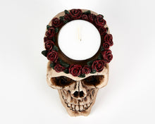 Load image into Gallery viewer, Skull Head With Roses Tea Light Holder, Candle Holder, Decorative Ornament