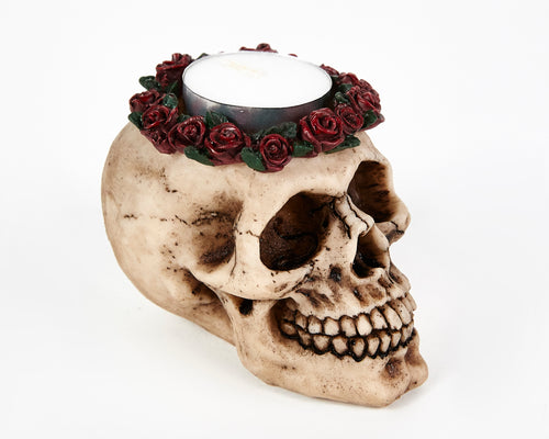 Skull Head With Roses Tea Light Holder, Candle Holder, Decorative Ornament