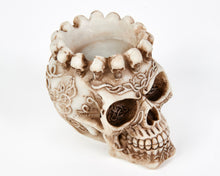 Load image into Gallery viewer, Decorative Skull Ashtray, Decor Ornament, Gothic, Biker, Halloween, Day of the Dead, Sculpture