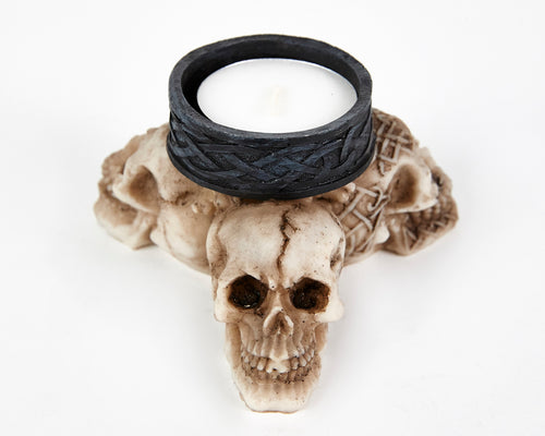 Three Skulls Tea Light Holder, Decor Ornament, Gothic, Biker, Halloween, Day of the Dead, Sculpture