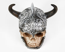 Load image into Gallery viewer, Decorative Skull With Helmet, Decor Ornament, Gothic, Biker, Halloween, Day of the Dead, Sculpture