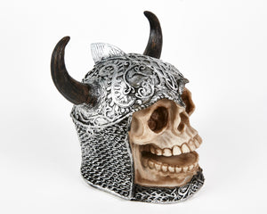 Decorative Skull With Helmet, Decor Ornament, Gothic, Biker, Halloween, Day of the Dead, Sculpture