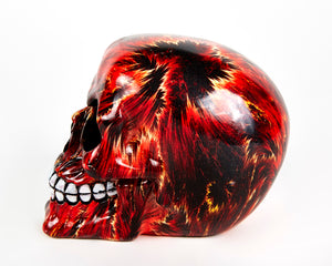 Red Fire Decorative Skull, Decor Ornament, Gothic, Biker, Halloween, Day of the Dead, Sculpture