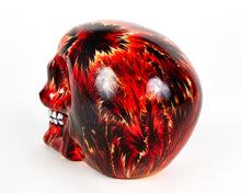Load image into Gallery viewer, Red Fire Decorative Skull, Decor Ornament, Gothic, Biker, Halloween, Day of the Dead, Sculpture